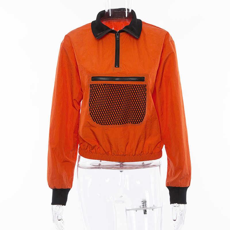 2019 春の秋の女性ファッション長袖メッシュポケットパッチワーク襟ジッパー Tシャツルーズカジュアル女性トレーナー