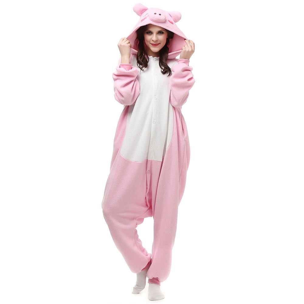 Unisex Adult Anime Pink Pig Polar Fleece Cosplay Costume Pajamas Party Onesies Pyjamas Sleepwear Fancy Dress One-Piece
