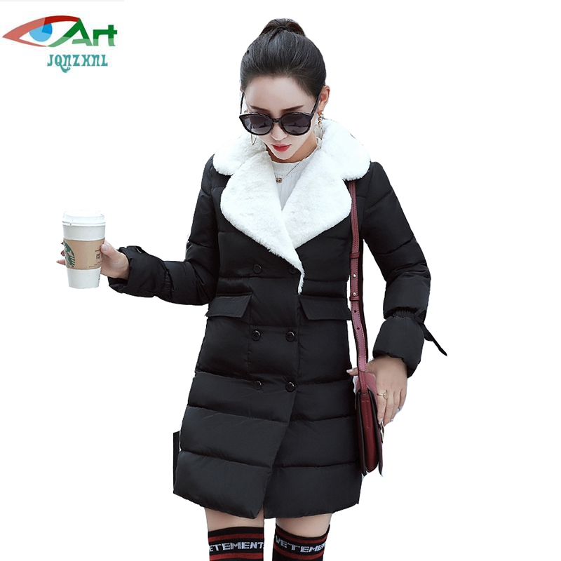 JQNZHNL Women Down Cotton Coats Parka 2017 New Winter Down Parka Turn Down Collar Double Breasted Casual Cotton Jacket Coat E868 europe 2015 new women winter coat slim turn down collar long double breasted leather match cotton jacket coat w20