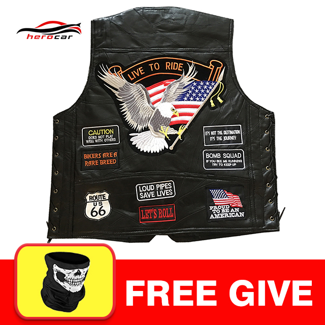 цены New Genuine Leather Motorcycle Vest Men Punk Retro Classic Style 14 Patches Motorcycle Jacket Biker Club Casual Vest Clothing