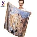 Acessórios de inverno Cáqui Praça Cachecóis Impresso Para Senhoras Amantes Da Moda 100% Natural Silk Scarf Impresso 90*90 cm Outono lenços