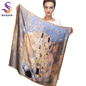 Image 1 - Winter Accessories Khaki Square Scarves Printed For Ladies Fashion Lovers 100% Natural Silk Scarf Printed 90*90cm Autumn Scarves