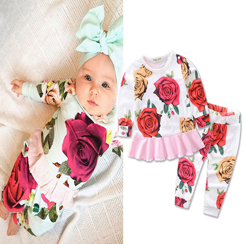 Flower spring autumn Baby girl clothes tops children baby print clothing for newborn child cloth sets custom 6M 9M 12M 18M 24M