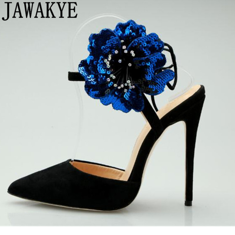 Crystal blue flower sandals women pointed toe suede high heel woman shoes ankle back strap dress party sandals female summer newCrystal blue flower sandals women pointed toe suede high heel woman shoes ankle back strap dress party sandals female summer new