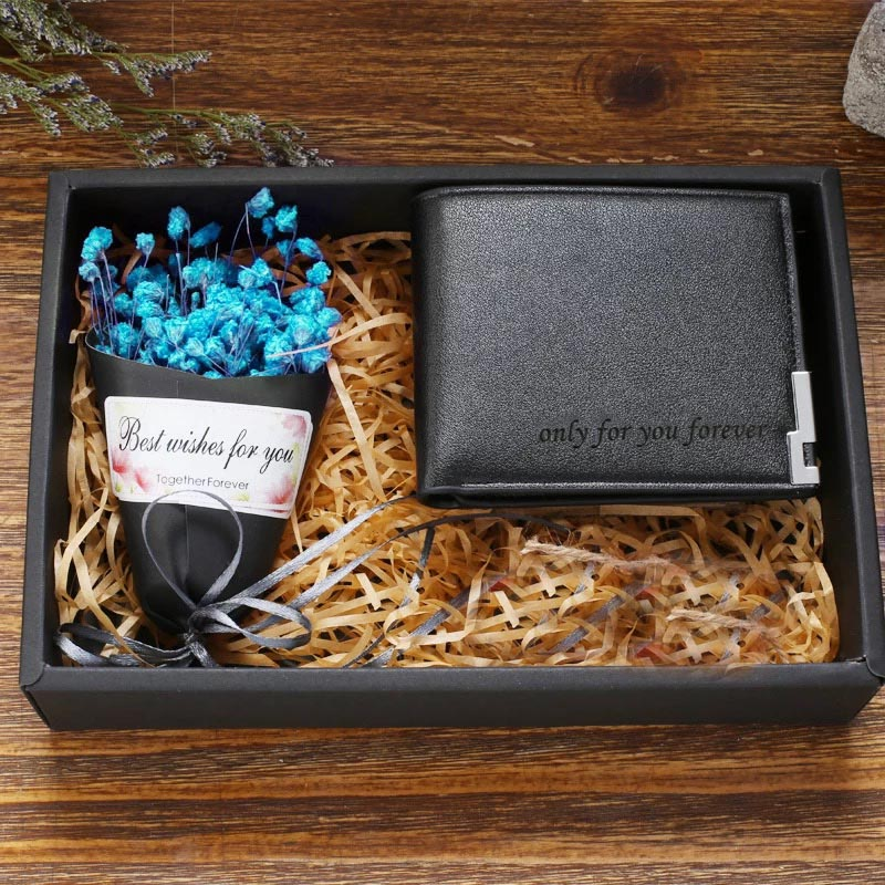 Online Shop 1set Custom Engrave Logo Leather Wallet Boy Friend Groom Groomsman Personalized Ideas Birthday Gifts Men