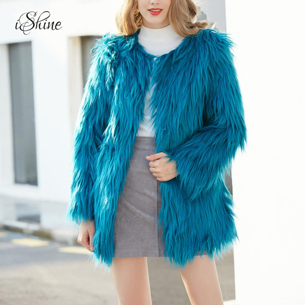 2018 New White Faux Fur Coats And Jacket For Women Long -3214
