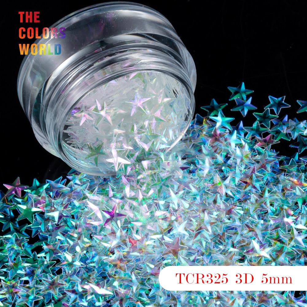 TCT-046 Star Shape 3D Effect Colorful Glitter 5MM Size For Nail Glitter Nail Art Decoration Gel Makeup Facepaint DIY Decoration 10 x metallic 3d alloy pink bow glitter rhinestones nail art diy tips decoration
