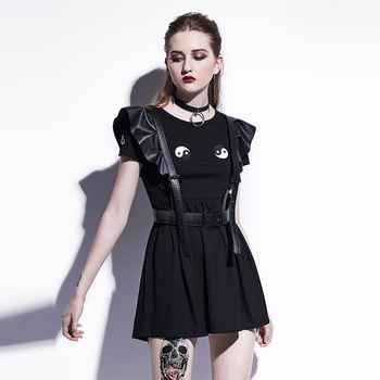 Young17 Gothic Mini Dresses Women Black A-Line Summer New O-Neck Pullover Embroidery Plain Fashion Sexy Club Gothic Mini Dresses