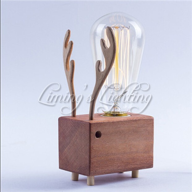 Edison Bulbs Wooden Shade Handmade Creative Oak Wood LED Night Table Lamp  Desk Lighting Christmas Reindeer