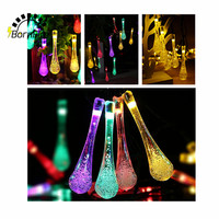 Holiday Lighting 30 LED Water Drop Shape String Lights Fairy Wedding Party Christmas Tree Solar Powered