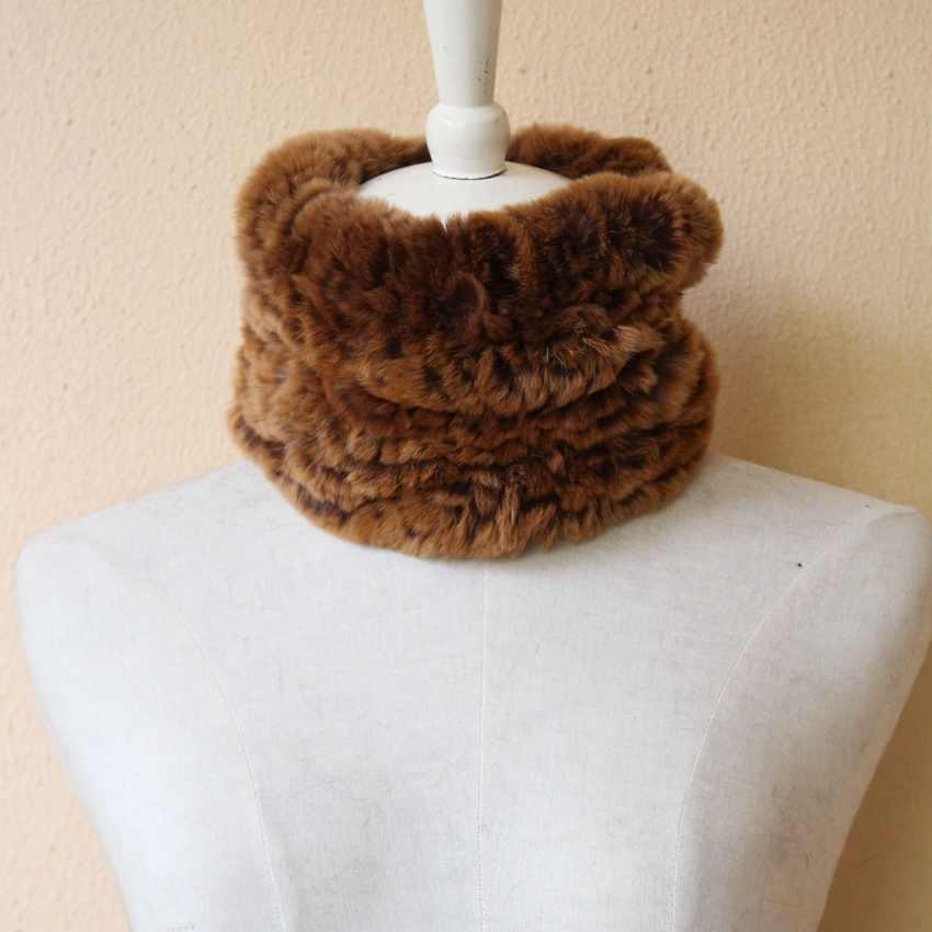 Натуральный кролик рекс вязаный меховой шарф повязка на голову для женщин зима шеи Теплый обёрточная леди шарф из натурального меха Кольцо роскошные аксессуары воротник