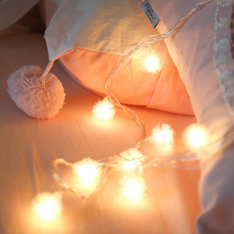 10LED 20LED Cotton Ball Light String Christmas Luminaria Curtain Light Girl Room Decoration Lights Wedding Holiday Battery Light