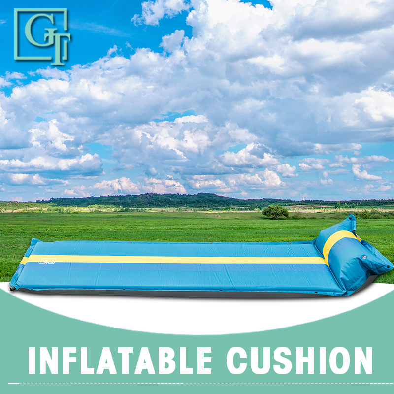 GT Single Inflatable Mattress Cushion Sleeping Bag Mat Fast Filling Air Moistureproof Camping Beach Mat Sleeping Pad DF-BYP-1P