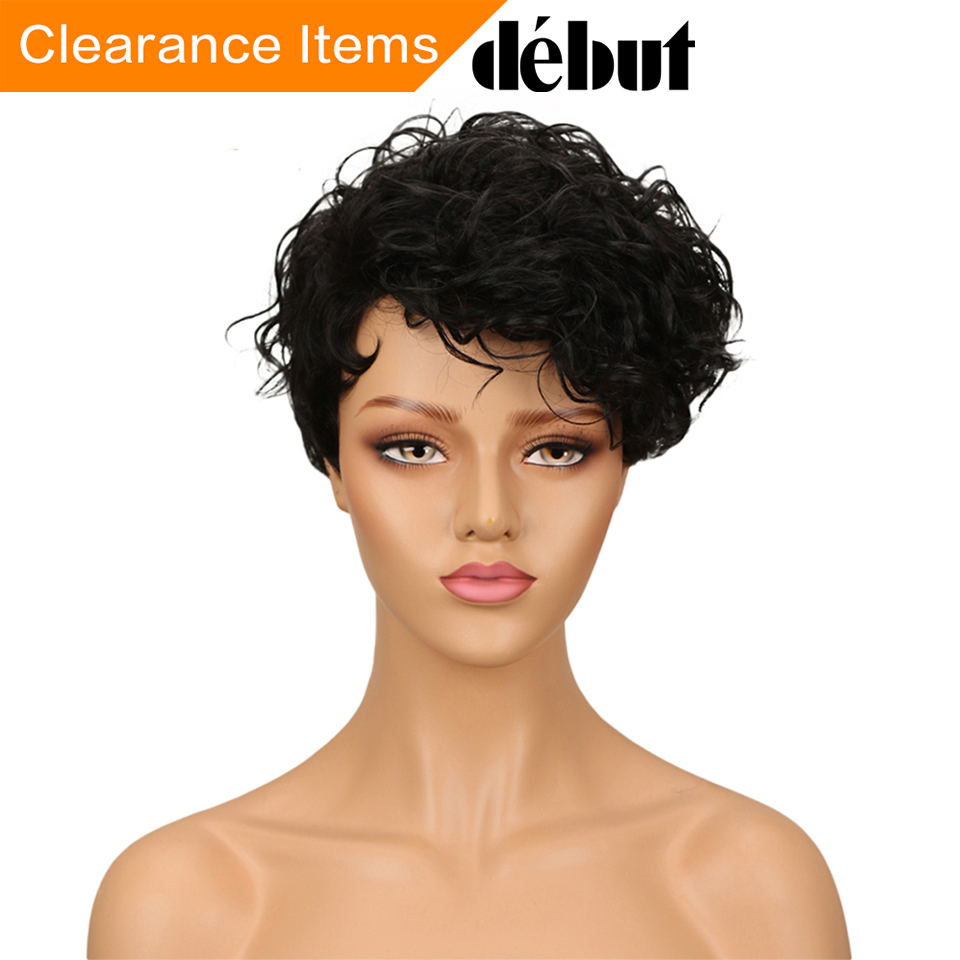 Debut Hair Wigs For Black Women Brazilian Wet And Wavy Wig 100% Human Hair Wigs Short Bob Curly Wigs 10 Color Free Shipping