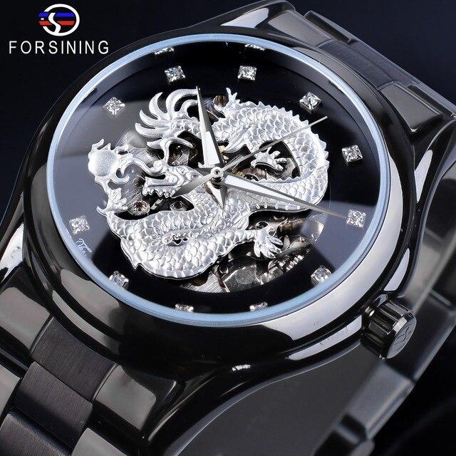 Forsining Drago Dargento di Scheletro Meccanico Automatico Da Polso Da Uomo Guarda Completo In Acciaio Orologio Cinturino In Acciaio Impermeabile orologi da Uomo