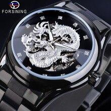 Forsining Prata Dragão Esqueleto Mecânico Automático do Relógio Dos Homens Relógio de Pulso Cinta de Aço Inoxidável Completa relógios dos homens À Prova D Água