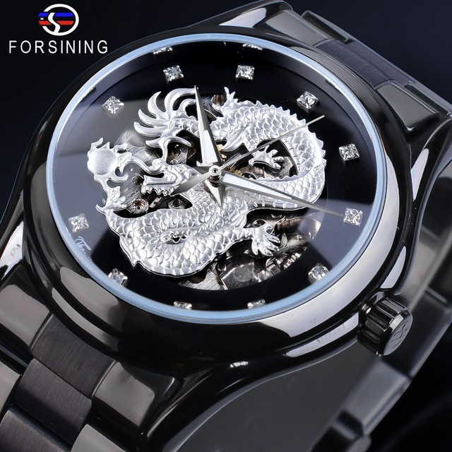 Forsining Silver Dragon Skeleton Automatic Mechanical Men Wrist Watch Full Stainless Steel Strap Clock Waterproof Mens watches