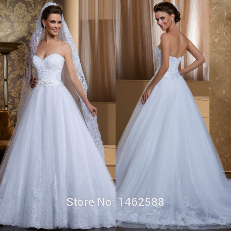 Elegant Appliques Sweetheart White Lace Appliques Tulle Wedding Dresses Princess 2018 New Robe De Mariage New Vestido De Noiva in Wedding Dresses from Weddings Events