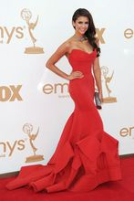 Nina Dobrev Strapless Red Taffeta Gown Emmy Awards Look Alike Celebrity Dresses 2015 Evening Dress