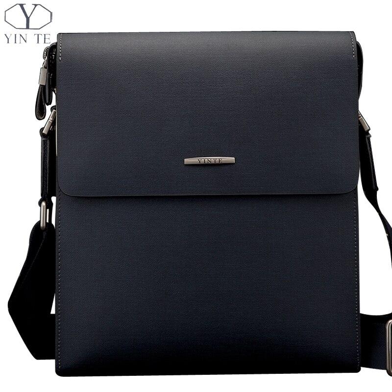 Yinte Для Мужчин's Сумки на плечо кожа Для мужчин посланник синий Сумки Бизнес Для мужчин кожаная сумочка жесткий Стиль Для мужчин сумка портфе