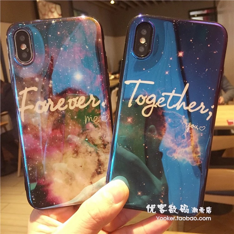 Cuptakes Luxury Laser Glossy IMD Soft Silicone Case for iPhone 7 8 X 6 6S 7Plus 10 Cover Cute Me You Together Forever universe