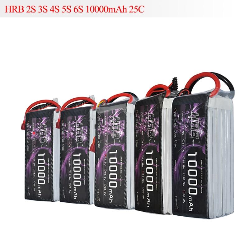HRB RC Lipo Batterie 10000 mah 2 s 3 s 4S 5S 6 s 7.4 v 11.1 v 14.8 v 18.5 v 22.2 v 25C MAX 50C Drone AKKU Pour RC Hélicoptère Avion