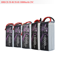 HRB RC Lipo Battery 10000mAh 2S 3S 4S 5S 6S 7.4V 11.1V 14.8V 18.5V 22.2V 25C MAX 50C Drone AKKU For RC Helicopter Airplane