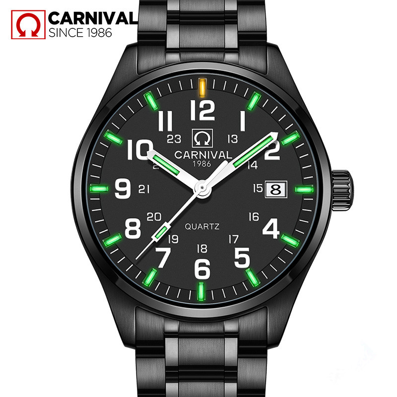 Carnival T25 Tritium Watch Men Fashion Luminous Quartz Wristwatches Mens Watches Top Brand Luxury Waterproof Clock Saat Erkekler