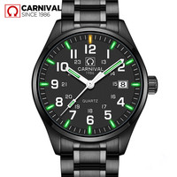Carnival T25 Tritium Watch Men Fashion Luminous Quartz Wristwatches Mens Watches Top Brand Luxury Waterproof Clock saat erkekler