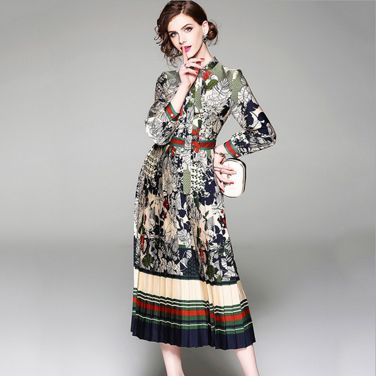 Micosoni 2018 Autumn New High end Quality Vertical Pleated Long Sleeves Single breasted Vintage Printed Dresses