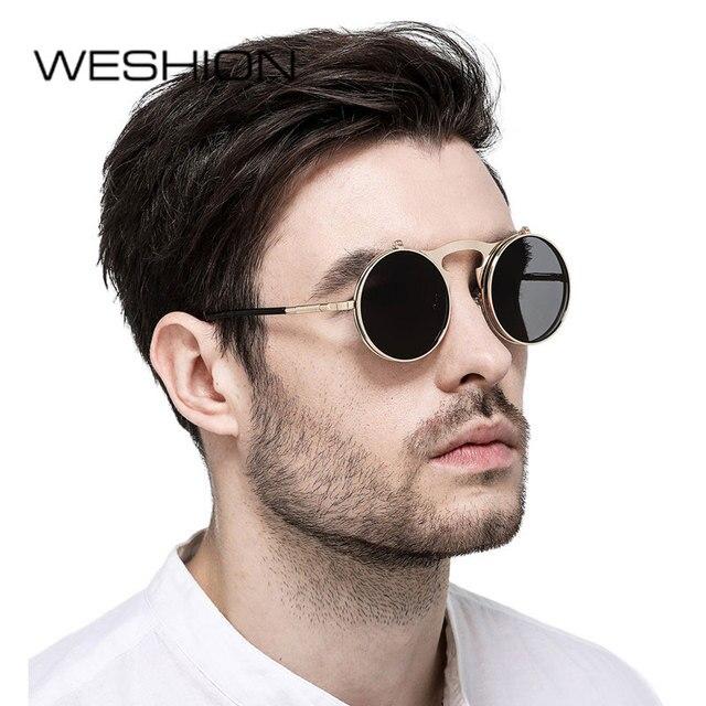 Small Steampunk Goggles Men Sunglasses Women Circle Glasses Round Flip Up  Double Lens Classic Sun Glasse 2018 Brand UV400 Oculos 457a4a6979