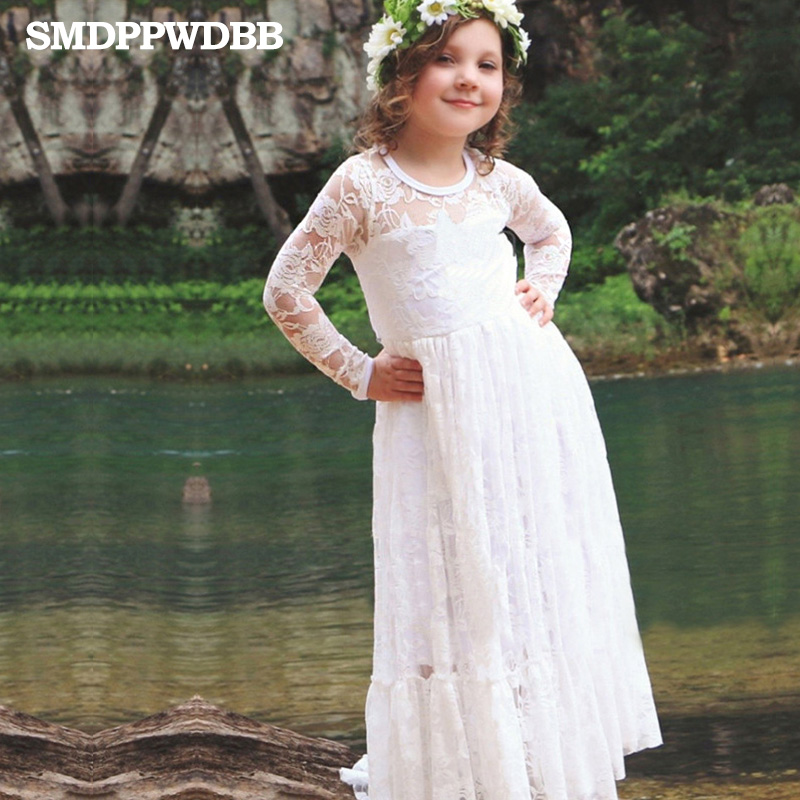 SMDPPWDBB Summer New Children Clothes Girls Beautiful Lace Dress Quality White Baby Girls Dress Teenager Kids Dress for Age 4-12