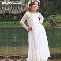 SMDPPWDBB Summer New Children Clothes Girls Beautiful Lace Dress Quality White Baby Girls Dress Teenager Kids