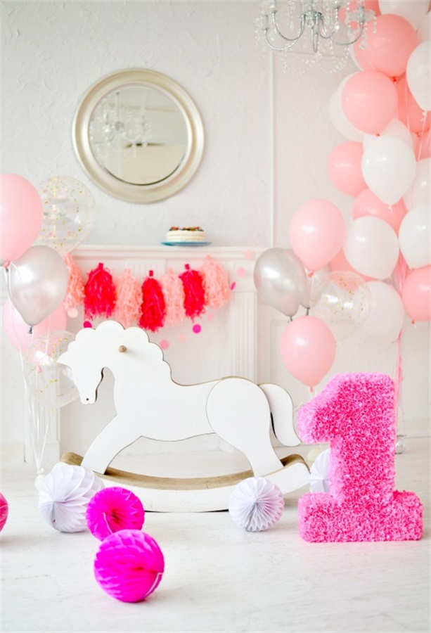Laeacco Cute Pink Balloons Horse 1 Year Old Birthday Baby Photography Backdrops Vinyl Custom Photo Backgrounds For Studio