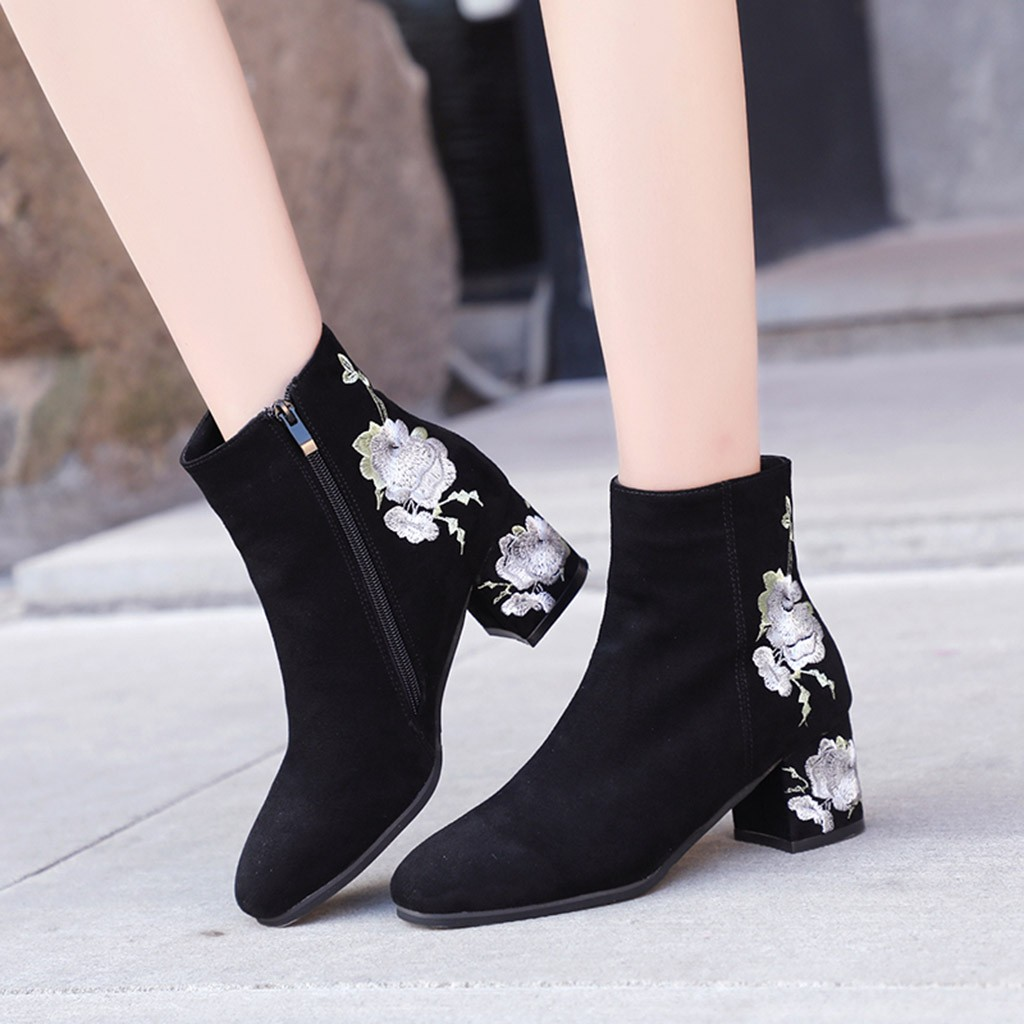 Women Fashion Embroider Warm Thick High Heel Ankle Short Boots Women's Boot