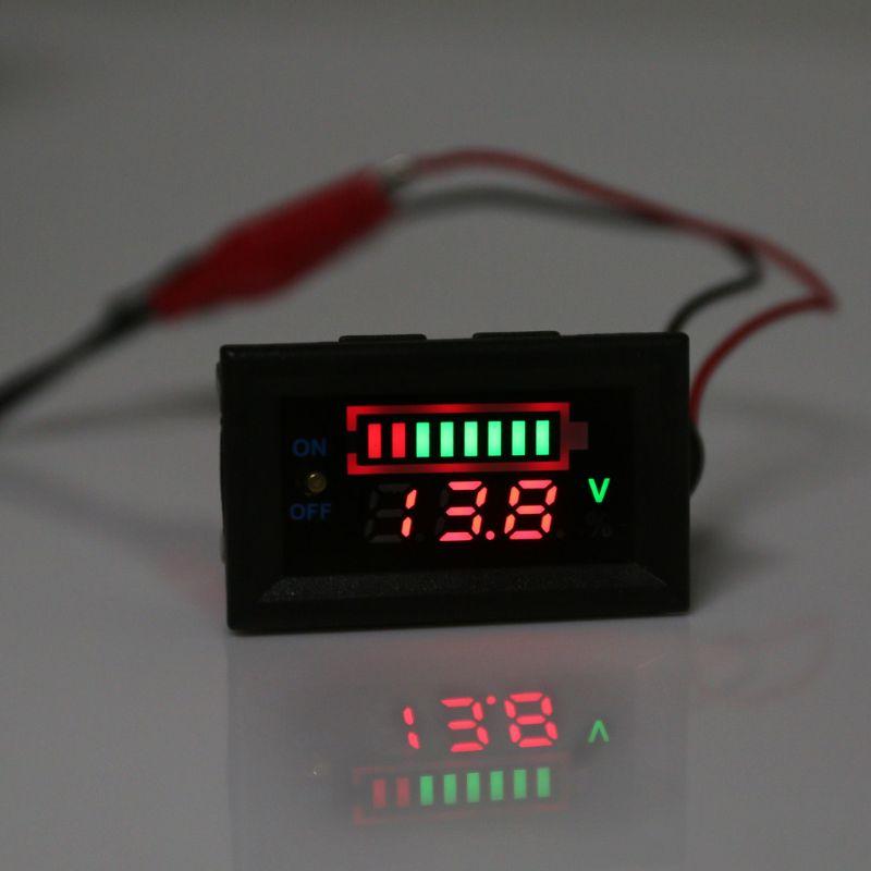 Detecci/ón del volt/ímetro del autom/óvil Capacidad de la bater/ía Electricidad de la bater/ía con Panel de Pantalla LED e Interruptor 12V Probador Digital de energ/ía de la bater/ía del autom/óvil