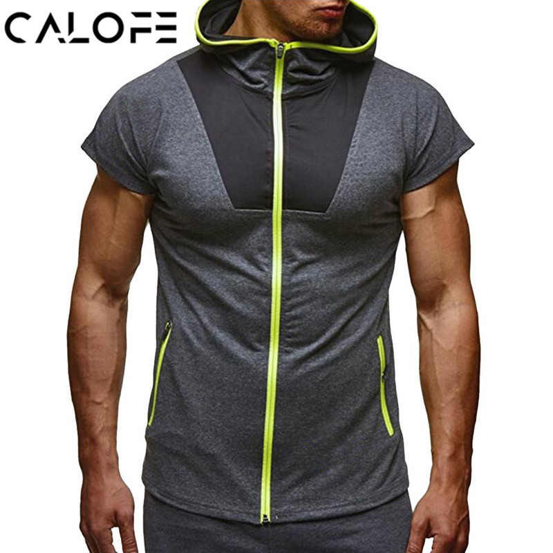 Smart 2018 Summer Hoodies Running T Shirt Men Hooded Short Sleeve Slim Fit Zipper T-shirt Black Tshirt Male Ftiness Tops Gym Clothing Traveling
