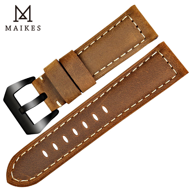 MAIKES Handmade 3 Color Watch Accessories Vintage Genuine Crazy Horse Leather 22mm 24mm 26mm Watchband Watch Strap & Watch Band tjw 2018 primary zone of environmental protection leather bamboo watch ebony watch crazy horse leather strap