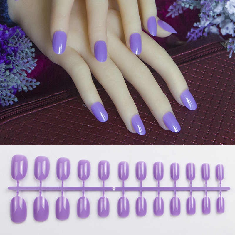 24pcs Light Purple Acrylic Nails With Glue Tab Candy Colors Round