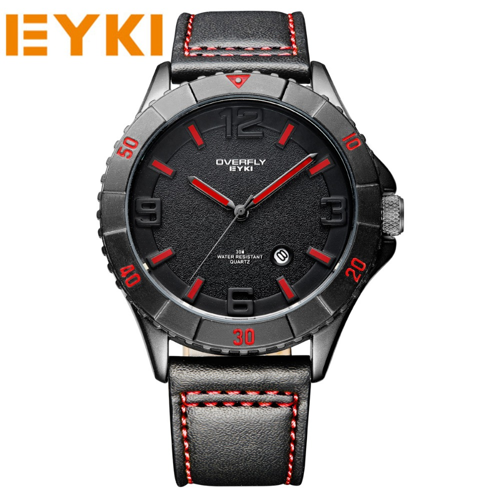 EYKI 2017 New Fashion Casual Wristwatches Men Leather Strap Watches Quartz Sport Army Watch Military Wrist watches Male Clocks