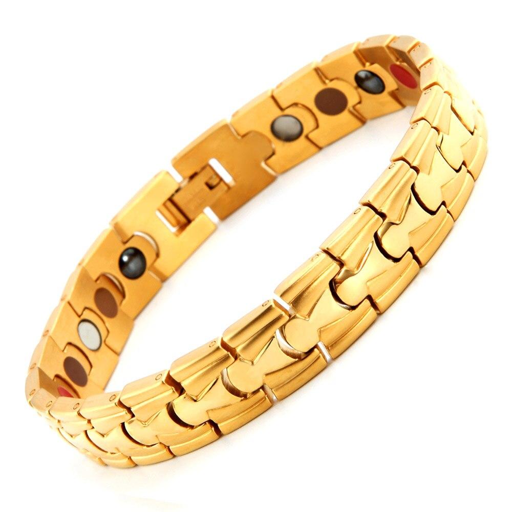 Bracelet de mode hommes lien chaîne en acier inoxydable 316L Bracelet de thérapie magnétique bijoux sains Bracelet de thérapie pour hommes