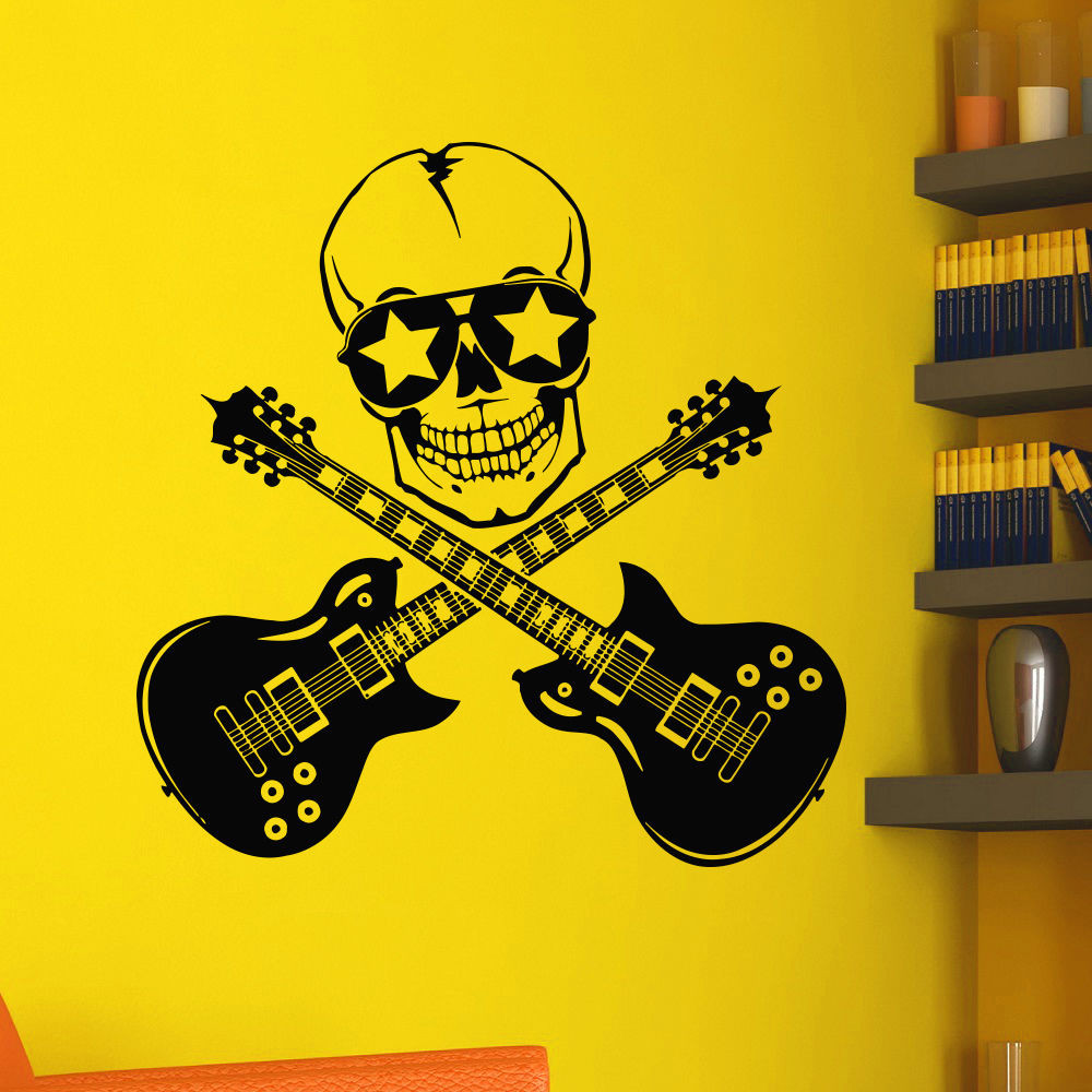 Poomoo wall decals wall vinyl decals music skull guitars rock decal sticker home art mural 22x22inch in wall stickers from home garden on aliexpress com