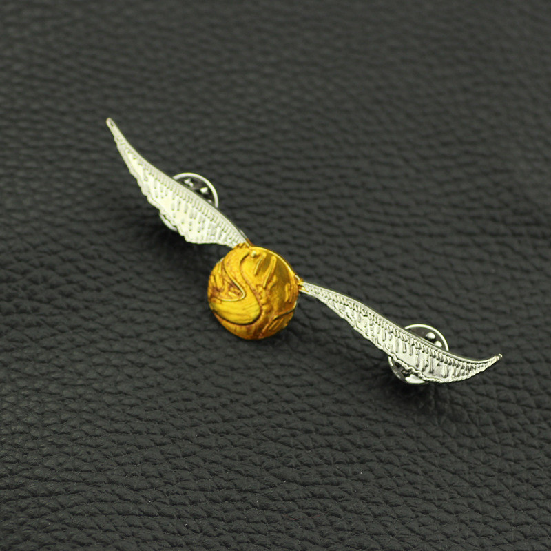 <font><b>DEATH</b></font> EATERS Golden Snitch Ball Metal Badge Pin Brooch The Deathly Hallows Luna Lovegood Glasses Brooch image