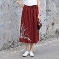 Yichaoyiliang primavera vintage estilo étnico chinês cotton linen midi saia floral impresso saia longa cintura elástica das mulheres do vinho vermelho