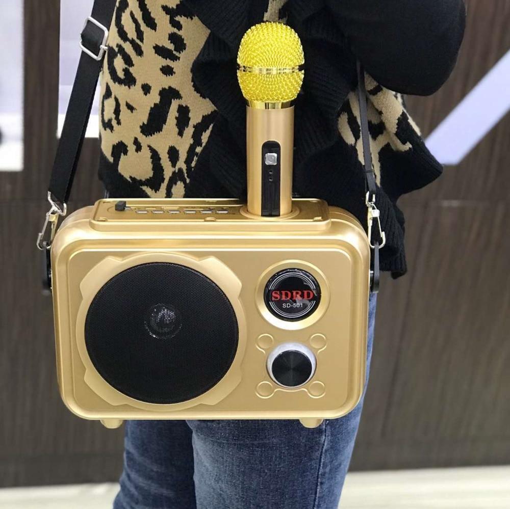 Nouveau haut-parleur Bluetooth avec Microphone sans fil Fm Radio Portable téléphone Portable karaoké Set K soutien de la chanson pour Andirod Ios téléphone