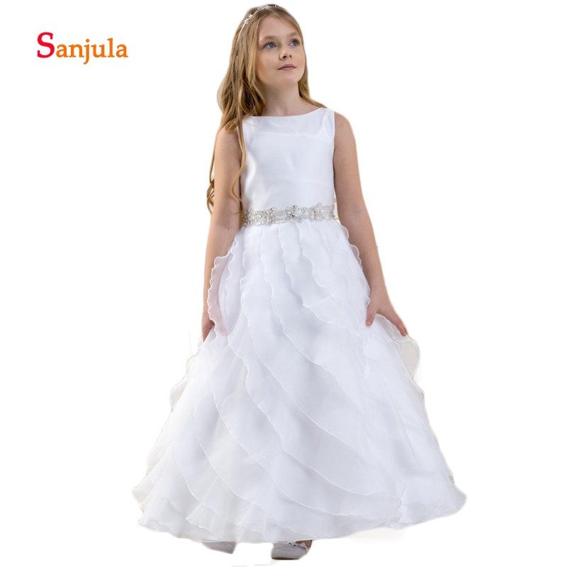 Ruffles Chiffon Skirt   Flower     Girls     Dresses   Scoop A-Line Tank White First Communion   Dresses   Beaded Neck Sashes Back Bow D178