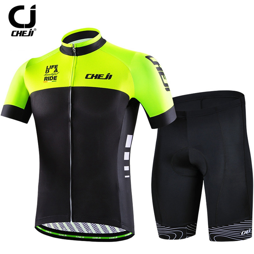 все цены на CHEJI 2018 Men Cycling Jersey Set bike Clothing With bib Bicycle Black-Green mtb Roupa Ciclismo Short Sleeve racing Sportswear онлайн