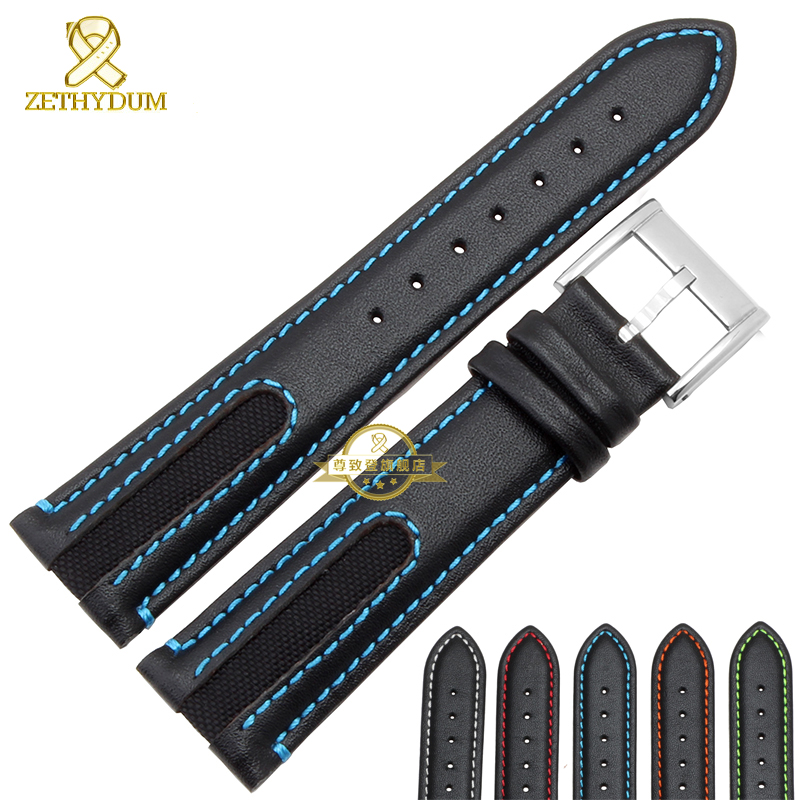 Genuine leather bracelet Watchband watch band head layer cowhide Red stitching watch strap 21mm wristwatches band stitched belt high quality genuine leather watchband 22mm brown black wrist watch band strap wristwatches stitched belt folding clasp men