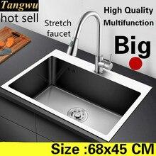 Домашняя большая кухонная ручная раковина одинарная мойка многофункциональная посуда прочная 304 нержавеющая сталь 680x450 мм