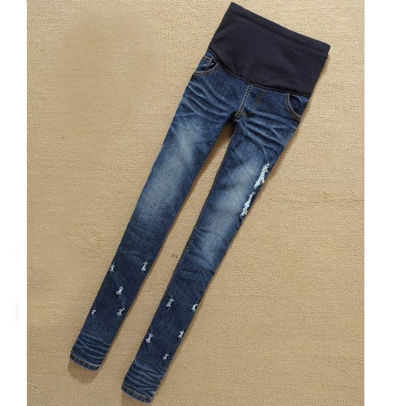 2619dbacbebc0 Pregnant women Hole Stretch Pencil Maternity Jeans Comfortable Waist  Abdominal Pants for women M L XL XXL 2018 New Arrival-in Pants & Capris  from Mother ...